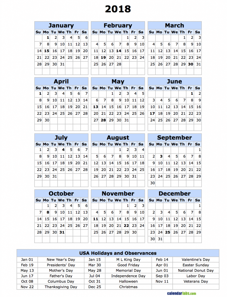 Us calendar 2018