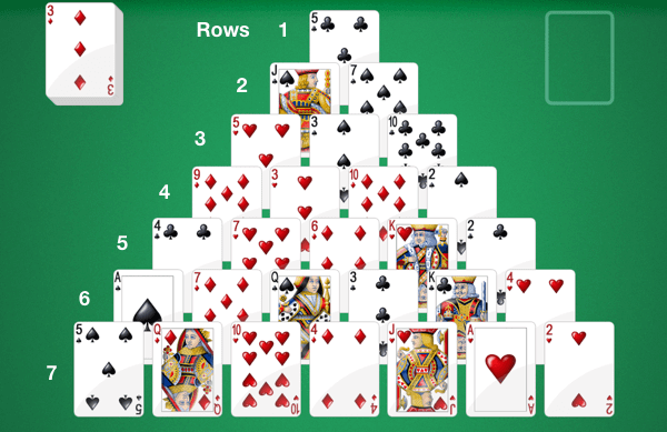 How many rows are there in Pyramid Solitaire